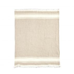 The Belgian Towel Fouta Flax stripe 43x71""