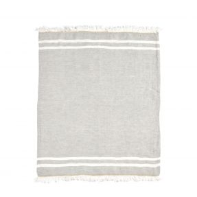 The Belgian Towel Fouta Gray stripe 43x71""