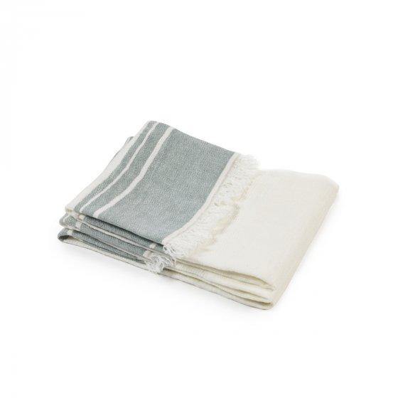 "The Belgian Towel Guest towel Sage stripe 21.5x25.5"""