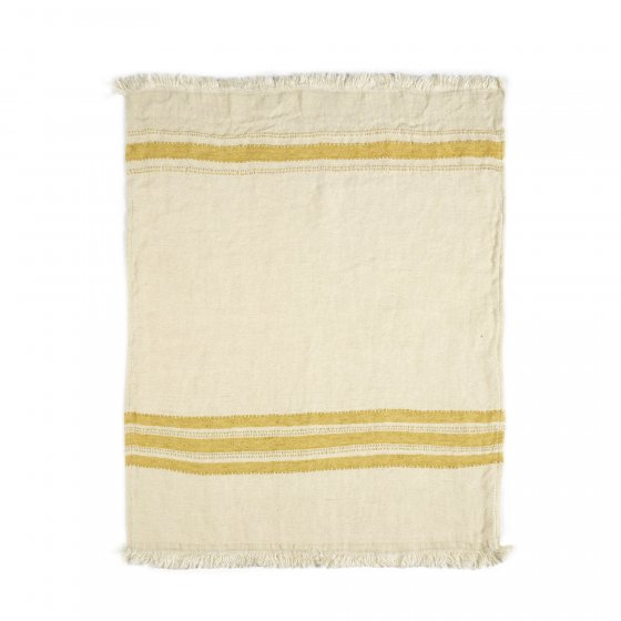 The Belgian Towel Fouta Mustard stripe 110x180cm