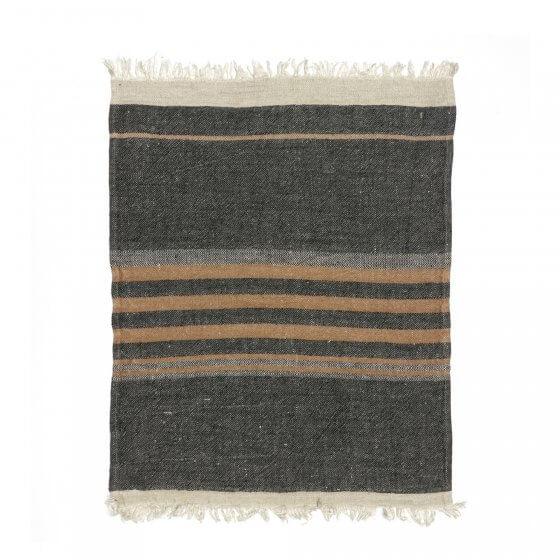 The Belgian Towel Fouta Black stripe 110x180cm