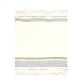 The Belgian Towel Fouta Oyster stripe 110x180cm