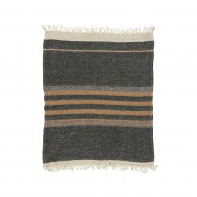 The Belgian Towel Fouta Black stripe 43x71""