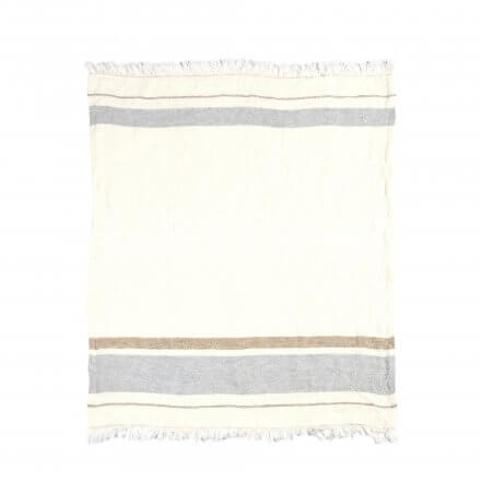The Belgian Towel Fouta Oyster stripe 110x180cm