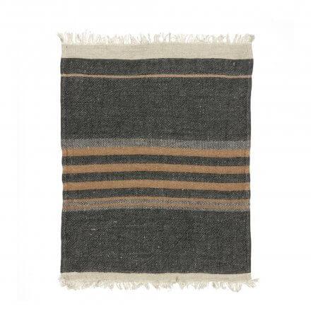 "The Belgian Towel Fouta Black stripe 43x71"""