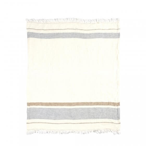 The Belgian Towel Fouta Oyster stripe 43x71""